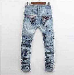Wholesale Snowflake Stripe - New Robin Men's Designer Jeans Long Flag Crystal Snowflake Slim Skinny Denim Mens Pant Trousers Jeans