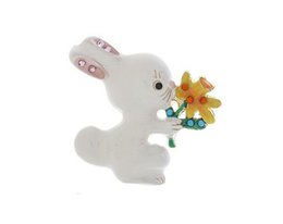 Wholesale Bunny Brooch Pin - White enamel Bunny Rabbit Pin Brooch with flower for Easter