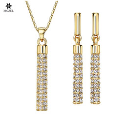 Wholesale Swarovski Elements Bridal Sets - Wholesale MOZEL Fashion Bridal Jewelry Sets MADE WITH SWAROVSKI ELEMENTS Rhinestone Gold Plated Necklaces Earrings for Women