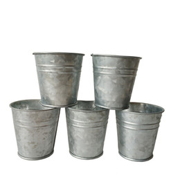 Wholesale Mini Flower Pots Wholesale - Free shipping cheap Silvery Color Metal Planter small Galvanized pot garden bucket Mini Nursery Pot Garden Supplies