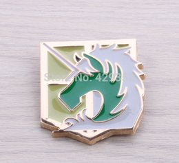 Wholesale Wholesale Badges Police - Japan Anime Animation Fans12pcs lot Hot Shingeki No Kyojin Attack on Titan Cosplay Military Police Corp Badge Brooches For Sale