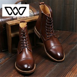Wholesale Oxford Brogue Shoes - Wholesale-2016 NEW brand Men's Ankle Boots Luxury Quality Genuine Leather boots Men British Bullock Style boots Oxford Brogues Shoes 2696