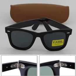 Wholesale Hinge Boxes - Best Quality Fashion Vassl Mens  Womens Sunglasses Hinge Metal Frame Black Glasses 50mm UV400 Sun glasses Eyewear Come Brown Case And Box