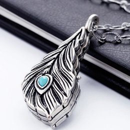 Wholesale Vintage Tin Cans - 5pcs lot Wholesale Free Shipping Sweater Dress Pendant Necklae Fashion Gift vintage feather necklace Can Open BOX Pendant