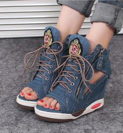 Wholesale Denim Wedges Sneaker - Women's Open Toe High Top Wedge Denim Jeans Sneakers Lace Up Hidden Heels Sandals Ankle Boots Cut Out DTT133
