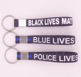Wholesale Popular Silicone Wristbands - New popular keyrings holder blue black police lives matter key rings simple silicone wristband keychain free shipping