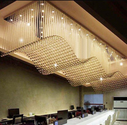 Wholesale Modern Chandeliers For Sale - Top Sale Luxury Modern Crystal Chandelier For Living Room Rectangle LED Lustres De Cristal Lamp Long Dining Room Light Fixture LLFA
