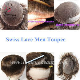 Wholesale Cheap Brizilian Hair - Cheap Full Swiss Lace Back Skin Pu Around Brizilian Hair Men Toupee On Stock Prompt Delivery Lace System Men Replacement