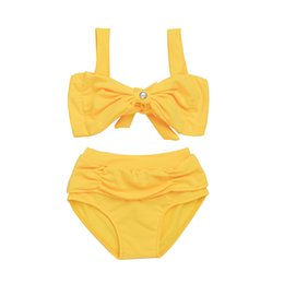 Wholesale Sling Suit Swimwear - Summer Girls Swimwear Yellow Butterfly Sling Bathing Suit Kids Swimming Trunks Fashion Children Bikini Swimsuits C645