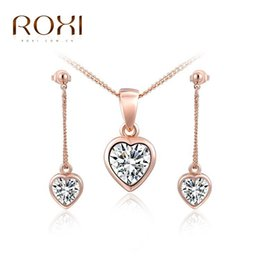 Wholesale Earings Necklace Sets - ROXI Jewelry Set Top Quality Rose Gold Plated Aaa Zircon Heart Shape Dangle Earings Necklace Jewelry Sets Wedding Women Jewelry