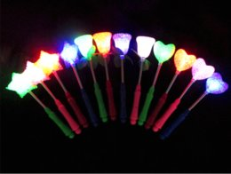 Wholesale Star Shaped Glow Sticks - 4colors New LED Glow Star Wand Mixed Rose Heart Shaped Stick Flashing Light 3modes Concert Party Novelty Led Toys free shipping by DHL