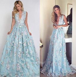Wholesale Green Fairy Dress - 3D Floral Flowers Fairy Evening Dresses Sheer Back With Appliques Exquisite Sleeveless Party Cocktail Gowns Custom Made Cheap Prom Dress