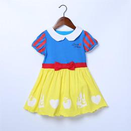 Schneewittchen für mädchen online-Baby Mädchen Baumwollkleid Schneewittchen Printed Princess Kleider Kurzen Ärmeln Sommer Kinder Kleidung Kostenloser Versand WX-D35