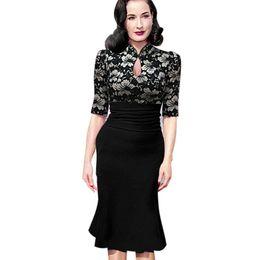 Vestito da sirena dell'annata midi online-New Fashion Women Elegante Vintage Pinup Tunica increspato Keyhole Prom Serata Party lavoro formale aderente sirena Midi Dress