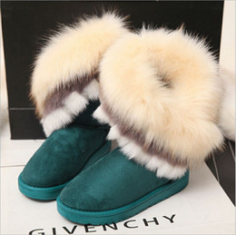 Wholesale green flocking - 171009001 2017 winter new personality women Fashion Ankle boots mouse Cotton-padded shoes Thickened Bow-tie Snow Boots 4 colors