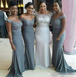 Wholesale Grey African Lace - 2017 African Grey Mermaid Bridesmaid Dresses Beads Crystal Sexy Off-Shoudler Floor Length Wedding Guest Party Evening Gown