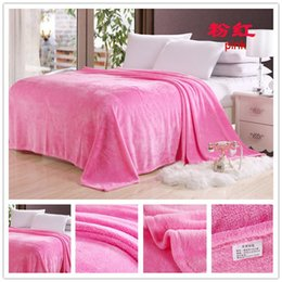 Wholesale Twin Size Pink Blanket - super thickening sheet soft flannel throw blanket warm double single size 150*200cm coffee yellow pink purple blue 12 colors