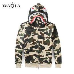 Wholesale Camouflage Jacket Men Winter - Wholesale- Men winter jacket camouflage trade shark head pattern hip hop zipper streetwear hooded camouflage youth leisure coat men coat