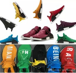 Wholesale Nipple Out - Yellow 2016 Pharrell Williams X NMD HUMAN RACE Shoes Top Quality REAL BOOST Bottom With Nipples mix 7 colors Men Running Shoes