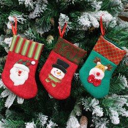 Wholesale Christmas Socks Decorate - 15pcs lot Large Creative Christmas ornaments small Christmas gift bag Christmas stockings decorated with Santa Claus Gift Bag Socks 85012