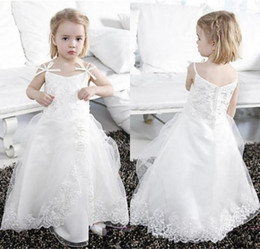 Wholesale Communion Dresses Made China - 2017 cute flower girl dresses for weddings spaghetti straps lace appliques zipper back floor length first communion dress custom made china