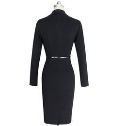 Wholesale Pencil Skirt Suits - 2017 Women 's Long Sleeve Dress Suit Collar Pencil Skirt