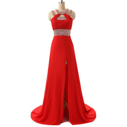 Vestidos de baile Envío rápido 2017 Vestido De Formatura Longo Fotos reales Vestido de fiesta de noche de gasa roja con abertura lateral desde fabricantes