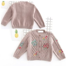 Wholesale Cardigan Sweaters For Children - Baby sweater jacket knits coats for baby girls girls Flowers embroidery sweater cardigan Baby Kids Clothes children 's clothing 1172