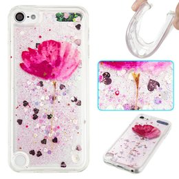 Wholesale Design Bling Case - 10 Designs Quicksand Moving Bling Glitter Floating Dynamic Flowing Liquid TPU Soft Transparent Case for ipod touch 5 touch 6