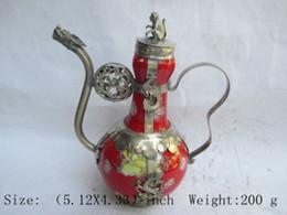 Wholesale Tibetan Teapot Antique - Elaborate Chinese ancient Tibetan copper dragon monkey inlaid with ceramic teapot