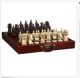Wholesale Chinese Chess Box - Wholesale Cheap Chinese 32 pieces chess set box Xian Terracota Warrior