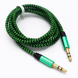 Wholesale Woven Iphone Cords - 1M Colorful Woven Fabric Braided Auxiliary Aux Audio Cable 3.5mm Male Cord for iphone 4S 5s 6 for Samsung