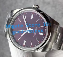 Wholesale Grape Boxes - Top JF Factory Mens Watch Automatic Wristwatches Domed Bezel Men Red Grape Dial Cal 3132 Dress Full Steel Eta Luminous Watches 114300 Box