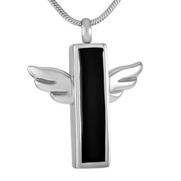 Wholesale Tombstone Wholesalers - IJD9282 Stainless Steel Cremation Jewelry For Ashes Tombstone Wings Coffin Memorial Pendant Keepsake Urn Necklace With Free Shipping