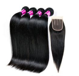 Wholesale Closure 4pcs - 100% unprocessed 10A Peruvian straight julienchina hair virgin Peruvian straight hair weave 4pcs Peruvian Straight Hair With lace Closure