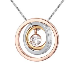Wholesale Gold Swarovski Crystal Pendant - Fashion gold silver rose gold plated round circles pendant necklace Made with Swarovski ELEMENTS crystal best Christmas gift for women N021