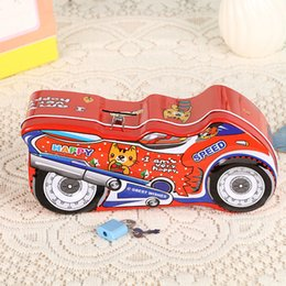 Wholesale Toy Wholesale Money Bank Figures - Piggy Bank cartoon motorcycle figure Money Box Children Baby Toy Savings box Coin Cent Storage case with lock for kids student birthday gift
