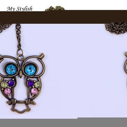 Wholesale Ladies Sweater Beautiful - Wholesale-My Stylish Lowest Fashion Lady Crystal Big Blue Eyed Owl Long Chain Pendant Sweater Coat Necklace Beautiful Accessories Nov 1