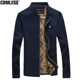 Wholesale Stand Up Collar Spring Jacket - Wholesale- Men's Jackets 2016 New Brand Long Sleeve Stand Collar Slim Fit Spring and Autumn Casual Solid Outwear Coats Up Size 4XL 5XL