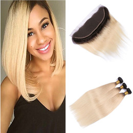 Wholesale Two Color Frontal Closure - Two Tone 1B 613 Blonde Ombre Peruvian Silk Straight Virgin Human Hair 3 Bundles With 13x4 Ear to Ear Full Lace Frontal Closure