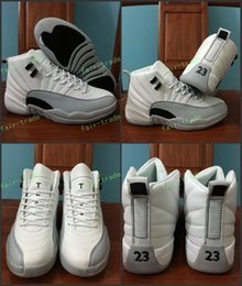 Wholesale Gs Sizes - 2017 High Quality 12 GS Barons Men Basketball Shoes 12s White Wolf Grey Men And Women 12s Sports Sneakers Eur 36-47 US Size 5.5-13