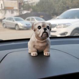 Wholesale Nodding Dogs - New Arrival White Light Gray Shaking Head Nodding Bulldog Dog Car Imterior Decoration