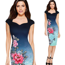 Wholesale Girls Ombre Dresses - summer new fashion floral printed ombre patchwork cotton polyester knit stretch short sleeve package hip pencil bodycon dresses for women