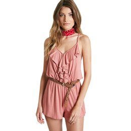 Wholesale Ruffles Strap Romper - Sexy Ruffled Front Knit Romper For Womens 2017 Plus Size Playsuit Summer Style Convertible Strap Sleeveless Jumpsuit Sexy Overalls W861287