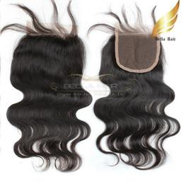 Wholesale Remy Bulk Hair Extensions - Brazilian Body Wave Remy Virgin Human Hair Extensions Lace Closure Weaves Free Part Natural Color Hot Bulk Wholesale