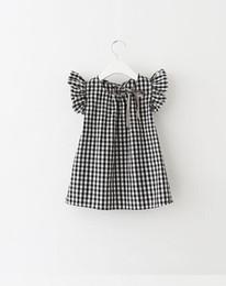 Wholesale Doll Boat - Children's grid fly sleeve summer short-sleeved dress girl doll unlined upper garment summer bowknot cute girls gress B4762
