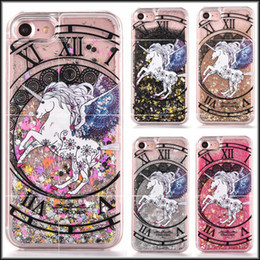 Wholesale Hard Plastic Horse - Magical Quicksand Dynamic Liquid Glitter Constellation Unicorn Horse Hard Case For Iphone 7 I7 6S Plus SE 5 5S Iphone7 Plus Cell Phone Cover