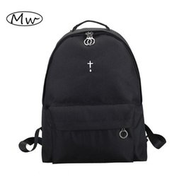 Wholesale Harajuku School Bags - Wholesale- Korean Harajuku Black Moon Cross Embroidery Backpack Large Capacity Unisex Backpack Students Travel Bag School Bags For Women