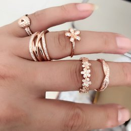 Wholesale Rose Gold Wedding Jewelry Sets - 100% real 925 Sterling Silver & Rose Gold Color Dazzling Daisy Wedding Rings With Cubic Zirconia For pandora Women Fashion Jewelry