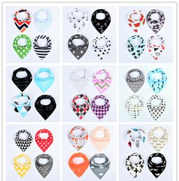 Wholesale Pure Cotton Clothing - 4pcs Baby waterproof triangle towel bibs Pure cotton girls boys double layer triangular towel Drool Bib burp clothes 28style